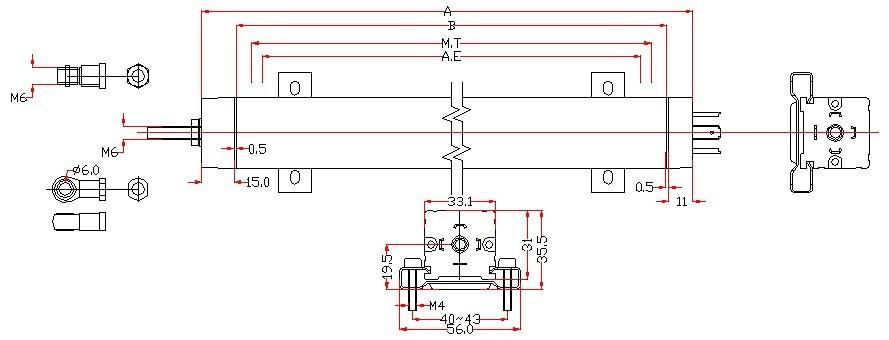 特点:   不同应用条件下,使用寿命长达100 x 106次   线性优异,高达 ±0.05%   分辨率高于 0.01mm   高运行速度   DIN 43 650标准插头和插座   防护等级IP 55   BRSEN博尔森研制了由铂金、银等贵重金属等元素构成的多元合金电刷(技术配方属公司核心技术秘密),该电刷使得电刷和电阻导轨的接触压力适中,减轻基片电阻导轨和电刷的磨损,提高接触式直线位移传感器的使用寿命,同时提高传感器信号的稳定性和可靠性。相对于市场上的四元合金电刷,寿命延长了2