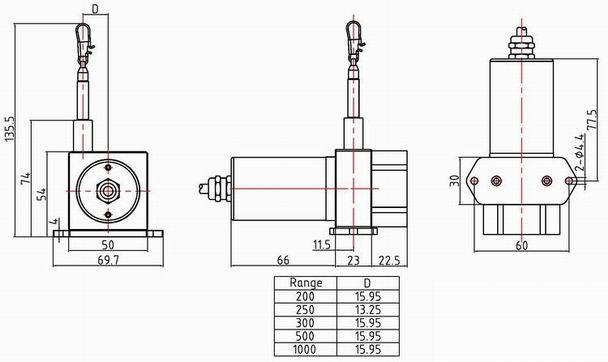 闸门行程位移传感器 wep50拉线位移传感器